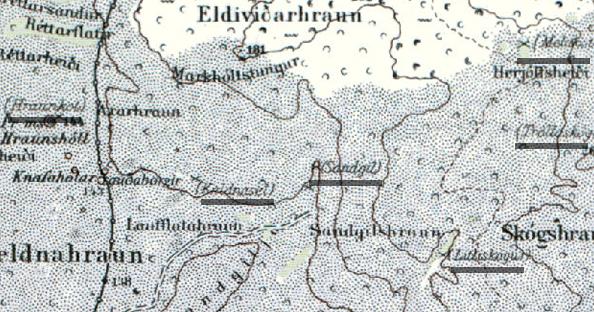 Kortlögð eyðibýli norðan við bæinn Keldur